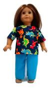 "Dinosaur Scrubs fits American Girl 18"" Doll Clothes Nurse Scrubs"