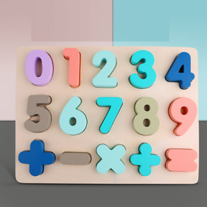 Wooden Number Math Pull Out Peg Puzzle Children Educational Jigsaw