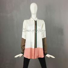 RARE Celine Oversize Blanc tricolore Soie Haut Chemisier Tunique Taille XS S FR34 US2