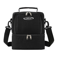 Dual Compartment Insulated Lunch Bag Cooler School Picnic Work Shoulder Strap