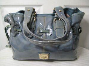 Dooney & Bourke Chiara Blue Patent Leather Shoulder Handbag.