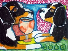 Bernese Mountain Dog Drinking Coffee Art Print 5 x 7 Collectible Signed by Ksams