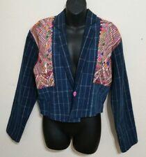 Vintage Artesanias Tipicas Guatemalan Embroidered Cropped Denim Jacket Ixmucane