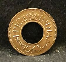 1943 British India (Colonial) pice, George VI, mostly red UNC KM-533 (IN4)  /N59