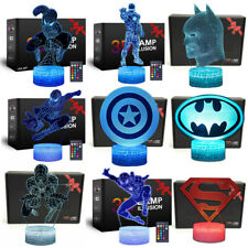Superhero 3D Illusion Led Night Light 16-Color Dimmable Smart Remote Touch Lamp
