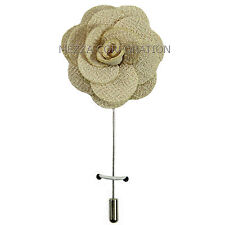 chest brooch Beige flower lapel pin New in box formal Men's Suit