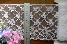 Nylon Rayon WHITE Floral Edge Lace 3 Metres Long Extra Wide 155mm BirchFt1 73831