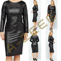 Womens PVC Look Dress Ladies Bodycon Long Sleeves Wetlook Black Dresses Midi