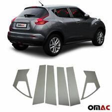 Fits Nissan Juke 2011-2017 Dark Chrome Window Plate B Pillar Trim S.Steel 6 Pcs