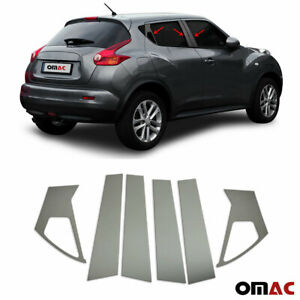 Fits Nissan Juke 2011-2017 Dark Chrome Window Plate B Pillar Trim S.Steel 6 Pcs