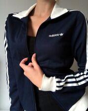 Vintage Adidas Womens Jacket Navy Blue 3 Stripes Track Top Trefoil Firebird Sz S