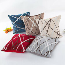 Chenille Ray Stripes Plush Pillow Case Sofa Waist Cushion Cover Home Decor Cover