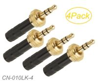 """4-Pack 3.5mm (1/8"""") Stereo Thread Locking Gold Male Connectors for Sennheiser"""