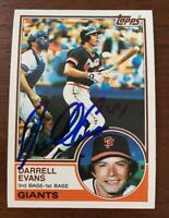 DARRELL EVANS 1983 TOPPS AUTOGRAPHED SIGNED AUTO BASEBALL CARD 448 GIANTS BRAVES