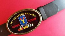 Vietnam Veteran -196th INFANTRY BRIGADE- Epoxy Belt Buckle & Bonded Leather Belt
