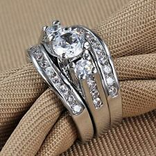 Size 4-12 Three-in-One Engagement Rings Set Wedding Rhodium 925 Sterling Silver