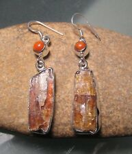 Sterling silver chunky rough orange kyanite, & cab agate earrings. Gift Bag.