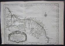 1757 CARTE DE LA GUYANE original map Bellin Prevost Guyana Suriname Amapá