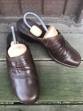 Womens Clarks Size 8M Brown Leather Monk Strap Slip On Mule Slides Clogs-221