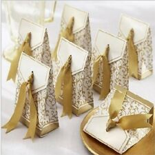 50 × Paper Gift Boxes Wedding Candy Box Guests Gold Ribbon Kraft Paper Gift Bag