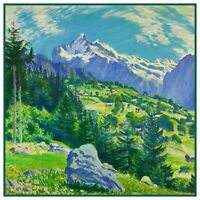 Morning in Grindelwald Landscape by Waldemar Fink Counted Cross Stitch Pattern