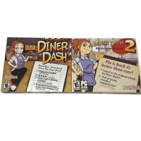 Diner Dash 1 & 2 PC CD-ROM Game Lot NEW PlayFirst Strategy Business SIM Tycoon