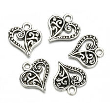 30pcs Antique Tibetan Silver Alloy Hollow Heart Charms Pendants Findings Crafts
