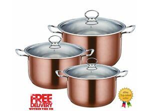 SQ PRO Metallic Stainless steel 3pc cooking/casserole pot set 28-32cm, Axinite