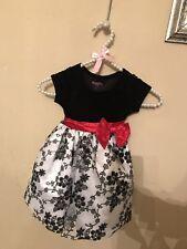 Nannette Kids 2T Dress Christmas, Holiday, party Dress Velvet Black And White