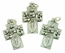 Silver Tone Squared 4 Way Cross with Miralulous Medal, Bulk Lot of 3, 1 1/2 Inch