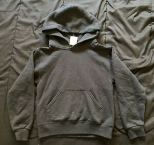 Jerzees Hooded Long Sleeve Pull Over Black Sz Small S Youth Active Wear