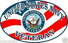 US NAVY VETERAN OVAL STICKER WITH USA FLAG TOOLBOX STICKER LAPTOP STICKER