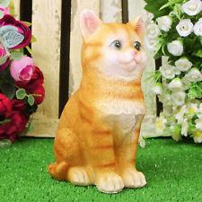 Kitten Sculpture Ginger Tabby Cat Animal Ornaments Home Garden Decor Statue Gift