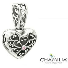 Genuine Chamilia silver pink cz locket pendant necklace bracelet charm in box