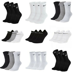 Nike 3 Pairs Socks Mens Womens Crew Everyday Sports No Show Ankle Socks Cotton