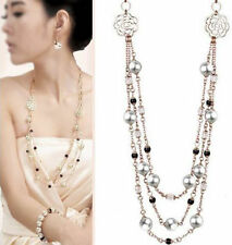 Charm Women Retro Multilayer Crystal Pearl Necklace Pendant Long Sweater Chain