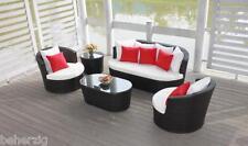 Rattan Lounge Set schwarz aus Polyrattan Gartenmöbel Garnitur Sofa - Komfortabel