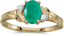14k Yellow Gold Oval Emerald And Diamond Ring (CM-RM1248X-05)