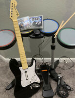PS3 PS2 Rock Band Drums & Sticks Fender Guitar Dongle Mic Game Rock Band Bundle
