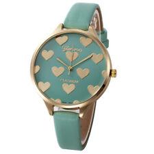 Ladies Fashion Gold Case Green & Gold Heart Design Face Slim Band Wrist Watch.
