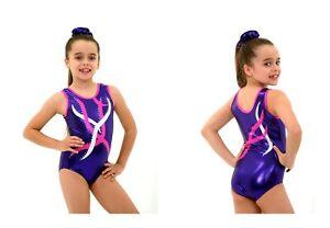 Purple Hot-Pink girls gymnastics leotard age 5-6 INT Size 26