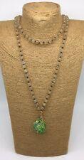 Fashion long knot yellow stone beads Necklace stone pendant woman jewelry