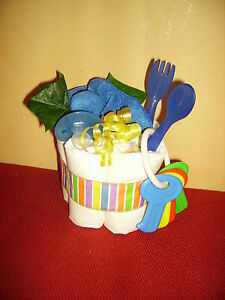 Diaper Cake Mini Blue with Spoon and Fork,Pacifier and More