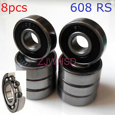 8pcs 608 2Rs Si3N4 Ceramic Bearing Set Rubber Sealed Skateboard Skate 8x22x7 mm