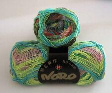 100 gram ball of NORO TAIYO SOCK cotton silk wool yarn Aqua Green Salmon #10