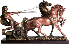 "Large 24"" Roman Warrior  Chariot Horse Gladiator  Ancient  Bronze Finish Statue"
