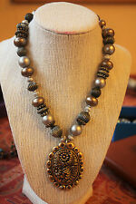 Chico's Necklace with Exotic Pendant and Gray-Gold Beads