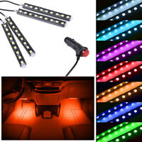 4in1 9LED Car Interior Atmosphere Footwell Strip Light USB Charger Lamps Yellow