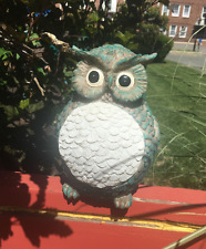 Solar Power Garden Decor Art Owl Statue Outdoor Patio Path Lawn White LED Light