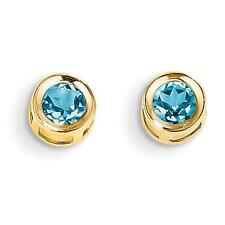 14k Yellow Gold 5mm Bezel Blue Topaz Stud Earrings